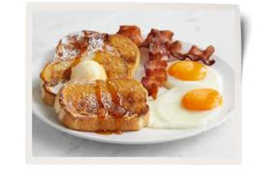 FRENCH TOAST, EGGS AND BACON WITH COFFEE